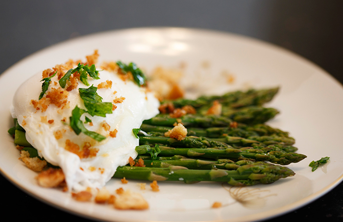 Poached Eggs Over Asparagus
