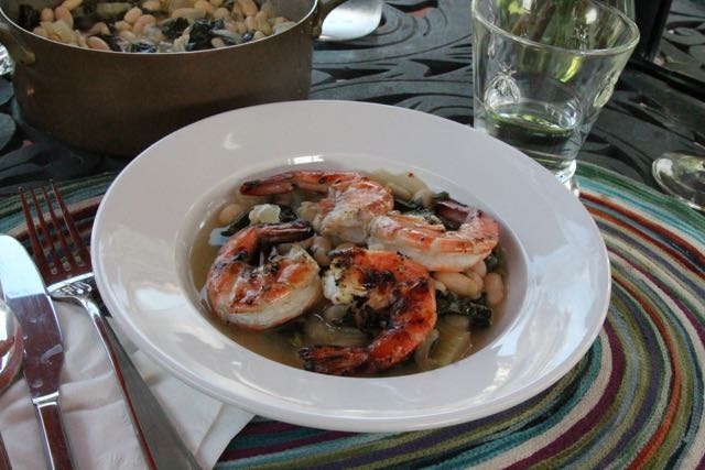Grilled Shrimp over Kale and Cannellini Bean Stew