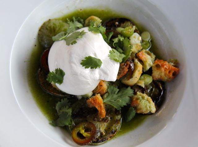 Grilled Green Tomato and Mozzarella Salad