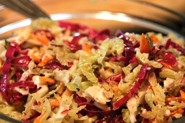 Cabbage Salad with a Mediterranean Vinaigrette