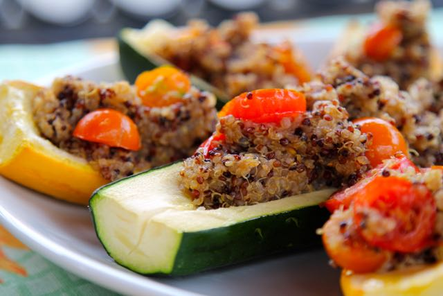 Zucchini Stuffed with a Quinoa Salad